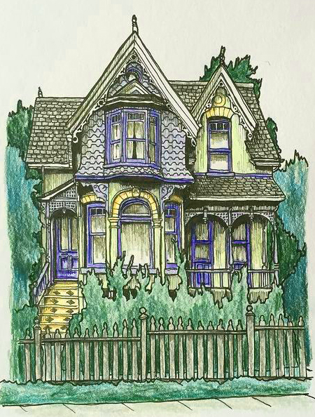 Hand drawn picture of a victorian house